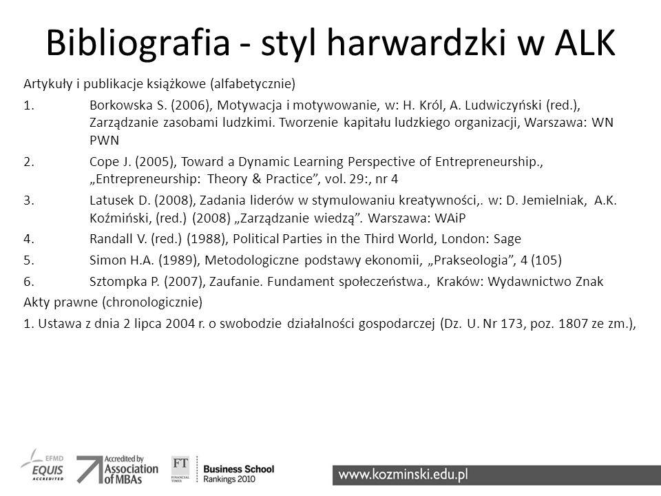 Bibliografia - styl harwardzki w ALK
