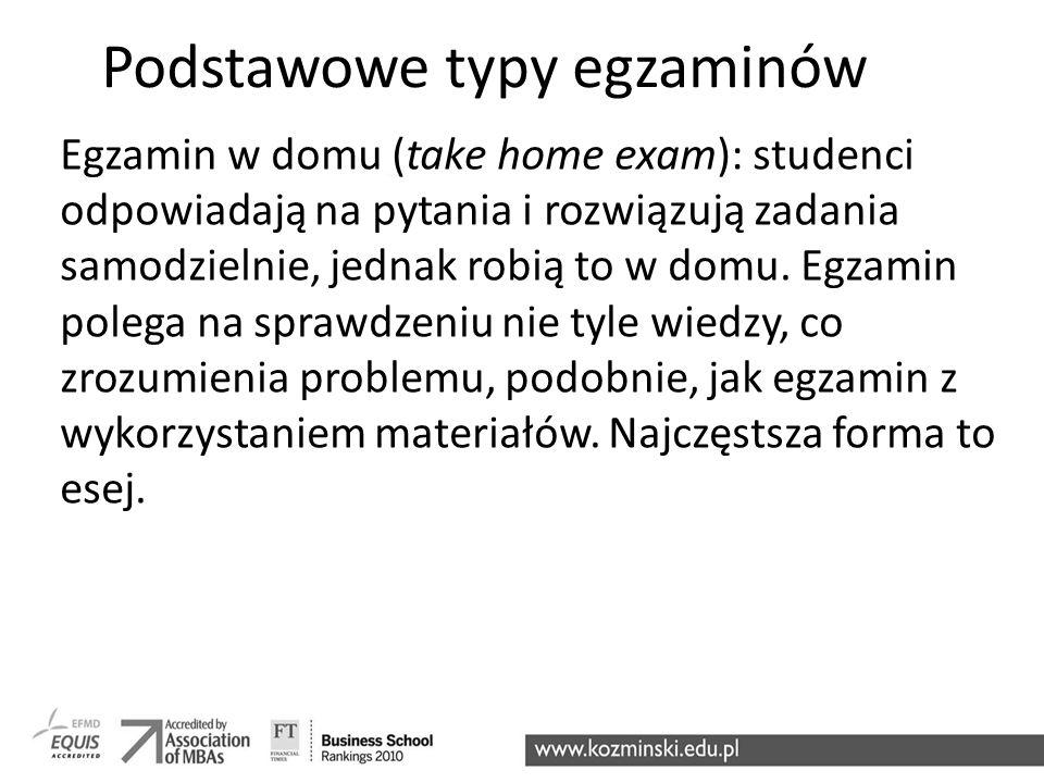 Podstawowe typy egzaminów