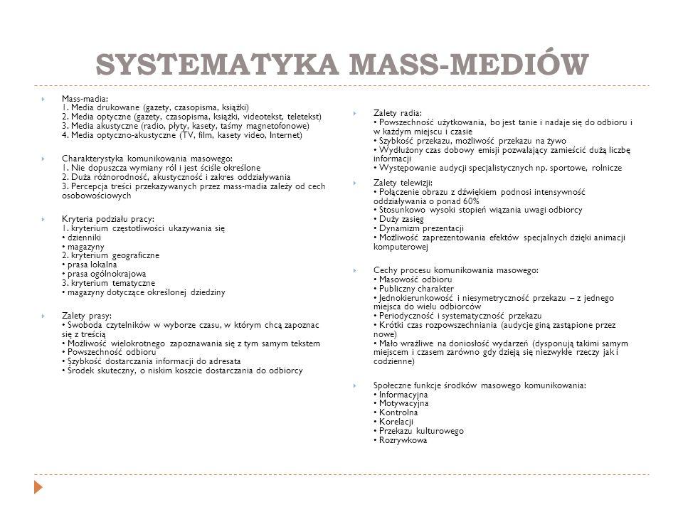 SYSTEMATYKA MASS-MEDIÓW