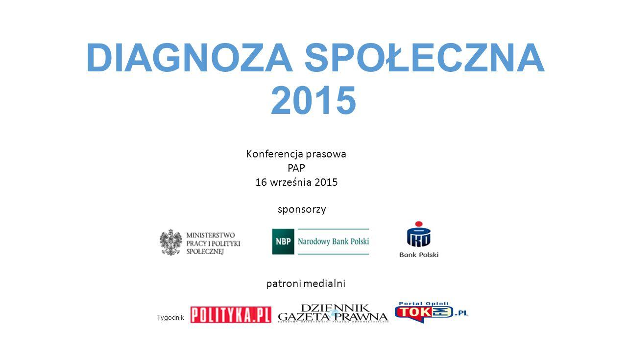DIAGNOZA SPOŁECZNA 2015 Konferencja prasowa PAP 16 września 2015