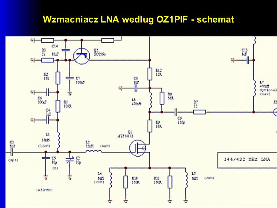 Wzmacniacz LNA wedlug OZ1PIF - schemat