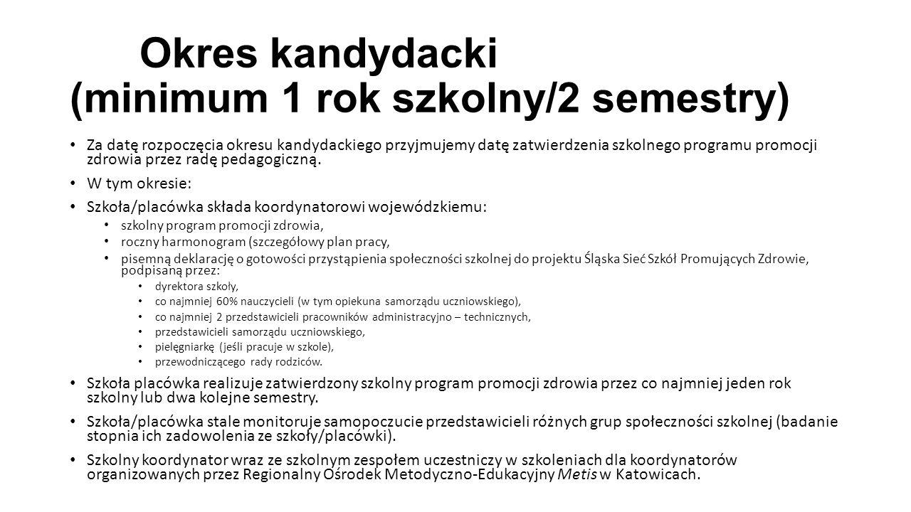 Okres kandydacki (minimum 1 rok szkolny/2 semestry)