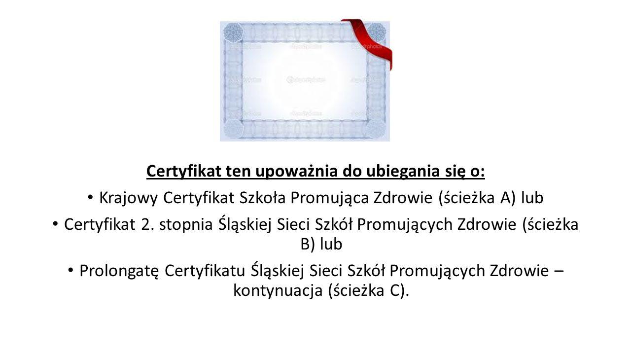 Certyfikat ten upoważnia do ubiegania się o: