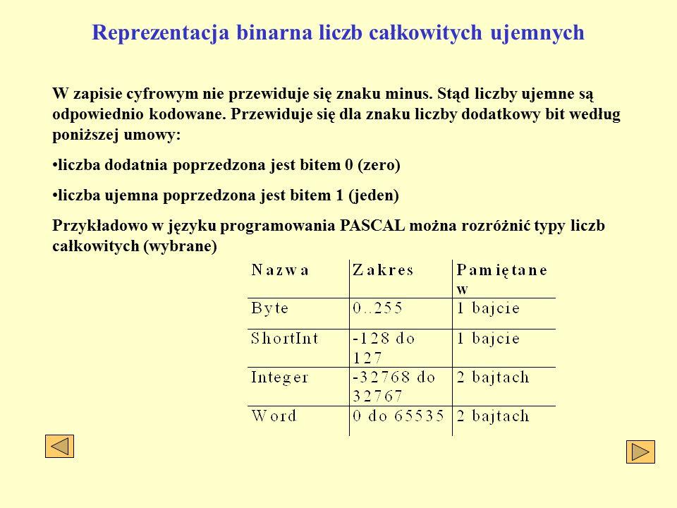 Reprezentacja binarna liczb całkowitych ujemnych