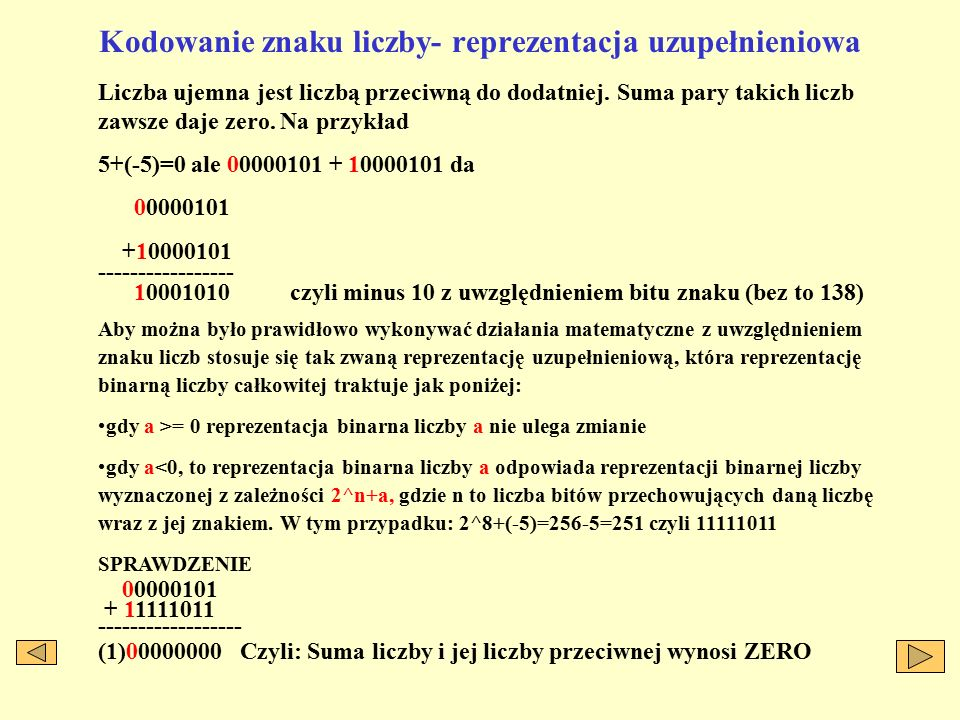 Kodowanie znaku liczby- reprezentacja uzupełnieniowa