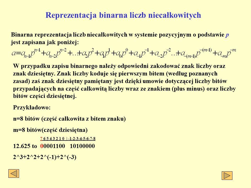 Reprezentacja binarna liczb niecałkowitych