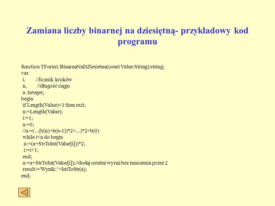 Zamiana liczby binarnej na dziesiętną- przykładowy kod programu