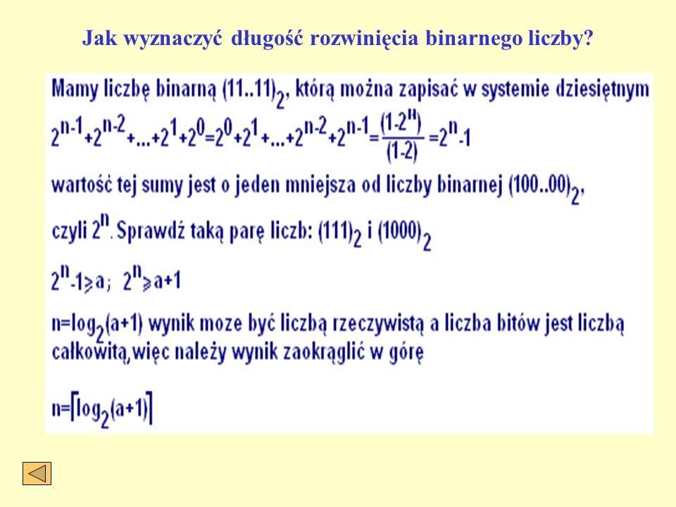 Jak wyznaczyć długość rozwinięcia binarnego liczby