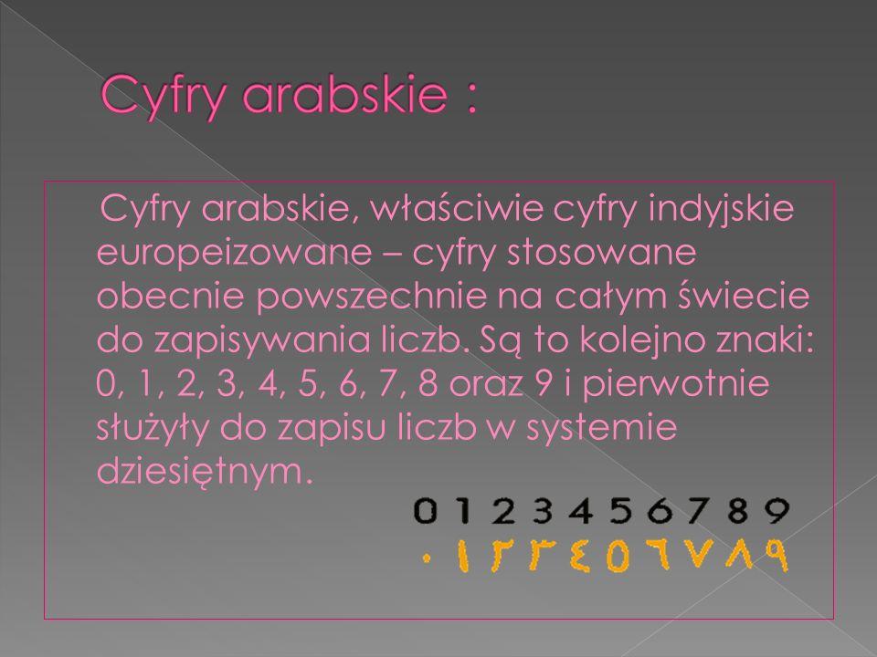 Cyfry arabskie :