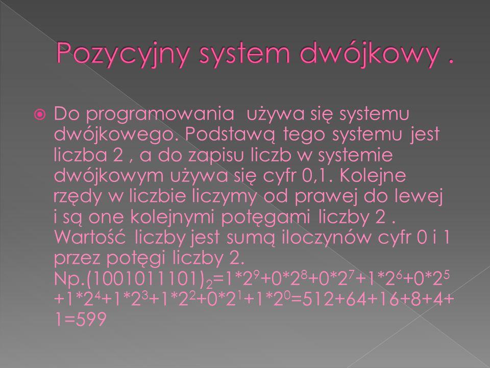 Pozycyjny system dwójkowy .