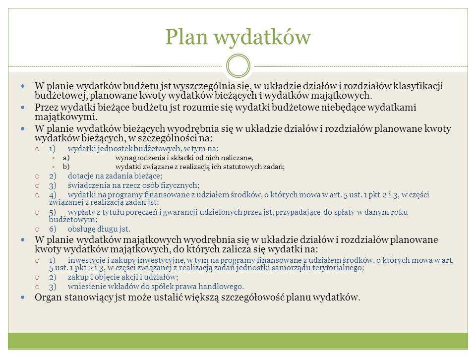 Plan wydatków
