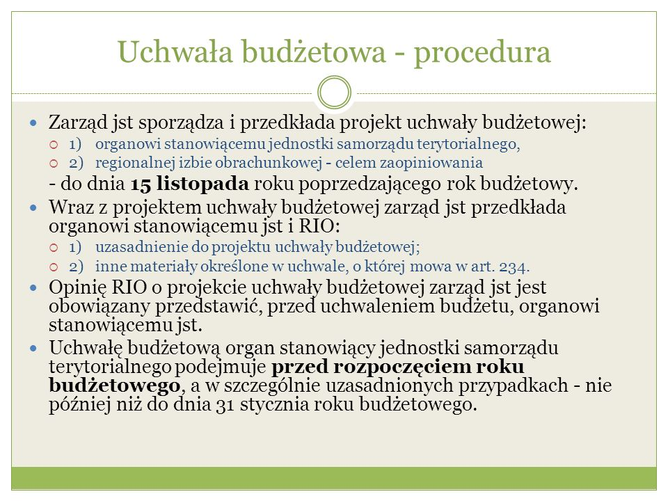 Uchwała budżetowa - procedura