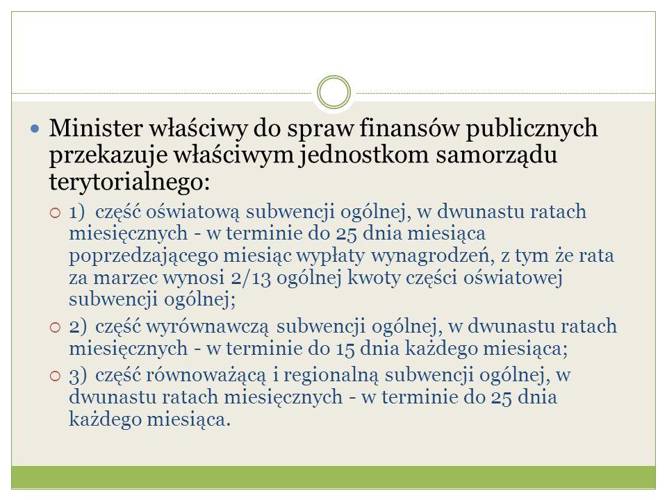Minister właściwy do spraw finansów publicznych przekazuje właściwym jednostkom samorządu terytorialnego: