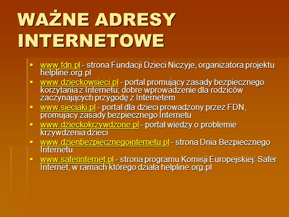 WAŻNE ADRESY INTERNETOWE