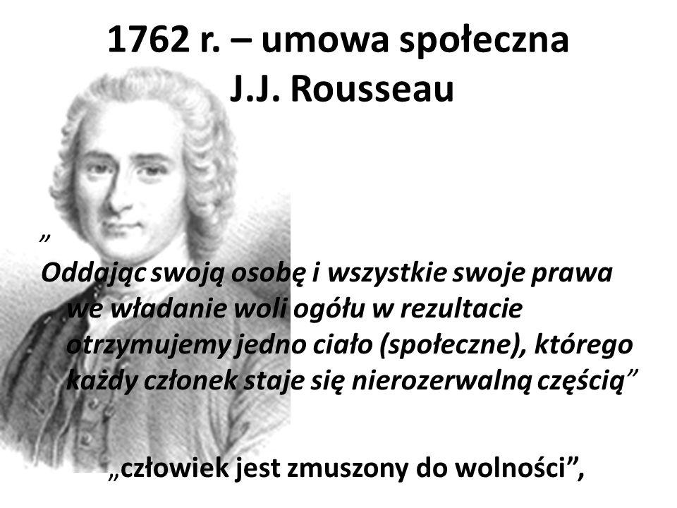 1762 r. – umowa społeczna J.J. Rousseau