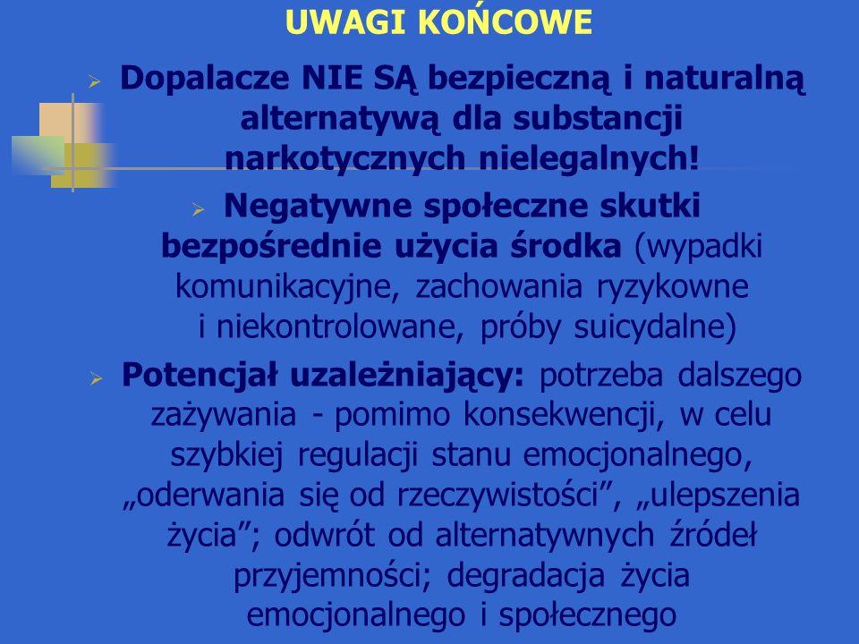UWAGI KOŃCOWE Dopalacze NIE SĄ bezpieczną i naturalną alternatywą dla substancji narkotycznych nielegalnych!