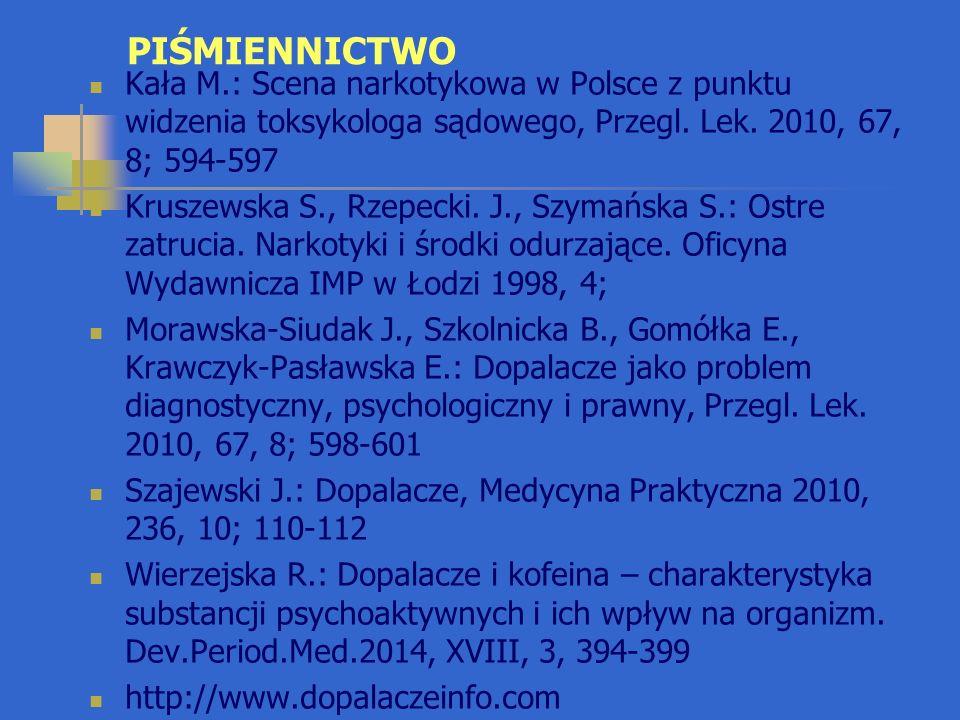 PIŚMIENNICTWO Kała M.: Scena narkotykowa w Polsce z punktu widzenia toksykologa sądowego, Przegl. Lek. 2010, 67, 8; 594-597.