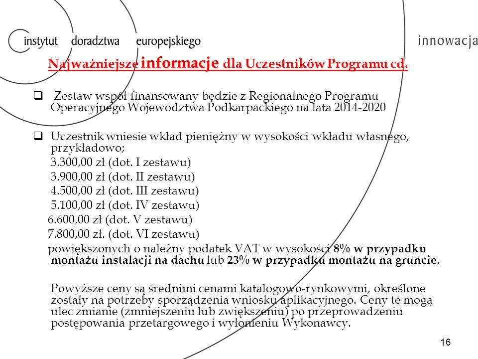 Najważniejsze informacje dla Uczestników Programu cd.