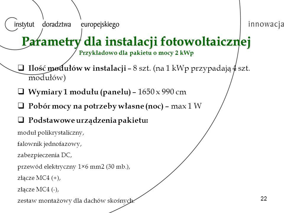 Parametry dla instalacji fotowoltaicznej Przykładowo dla pakietu o mocy 2 kWp