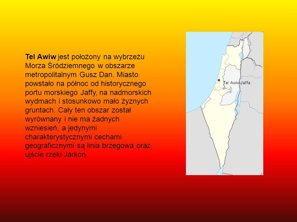 Tel Awiw jest położony na wybrzeżu Morza Śródziemnego w obszarze metropolitalnym Gusz Dan. Miasto powstało na północ od historycznego portu morskiego Jaffy, na nadmorskich wydmach i stosunkowo mało żyznych gruntach. Cały ten obszar został wyrównany i nie ma żadnych wzniesień, a jedynymi charakterystycznymi cechami geograficznymi są linia brzegowa oraz ujście rzeki Jarkon.