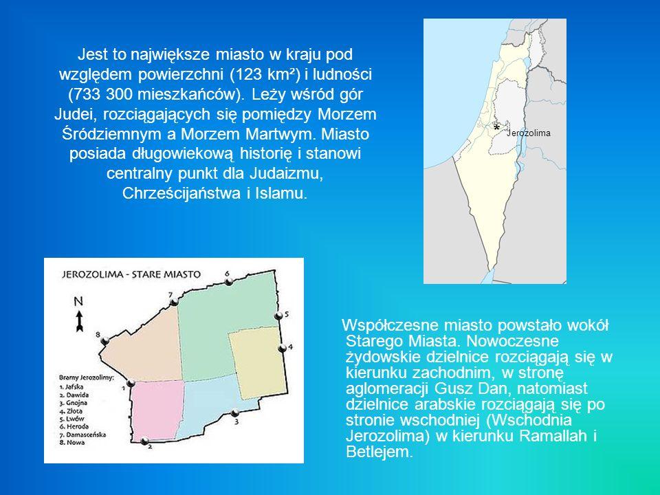 Jest to największe miasto w kraju pod względem powierzchni (123 km²) i ludności (733 300 mieszkańców). Leży wśród gór Judei, rozciągających się pomiędzy Morzem Śródziemnym a Morzem Martwym. Miasto posiada długowiekową historię i stanowi centralny punkt dla Judaizmu, Chrześcijaństwa i Islamu.