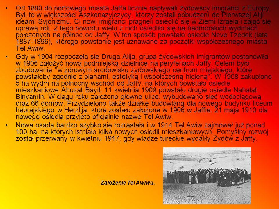Od 1880 do portowego miasta Jaffa licznie napływali żydowscy imigranci z Europy. Byli to w większości Aszkenazyjczycy, którzy zostali pobudzeni do Pierwszej Aliji ideami Syjonizmu. Ci nowi imigranci pragnęli osiedlić się w Ziemi Izraela i zająć się uprawą roli. Z tego powodu wielu z nich osiedliło się na nadmorskich wydmach położonych na północ od Jaffy. W ten sposób powstało osiedle Neve Tzedek (lata 1887-1896), którego powstanie jest uznawane za początki współczesnego miasta Tel Awiw.