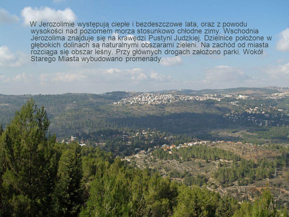 W Jerozolimie występują ciepłe i bezdeszczowe lata, oraz z powodu wysokości nad poziomem morza stosunkowo chłodne zimy.