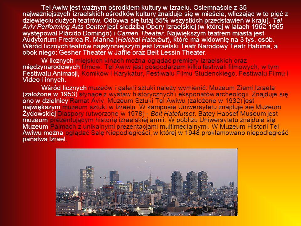 Tel Awiw jest ważnym ośrodkiem kultury w Izraelu