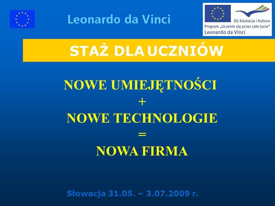 NOWE UMIEJĘTNOŚCI + NOWE TECHNOLOGIE = NOWA FIRMA