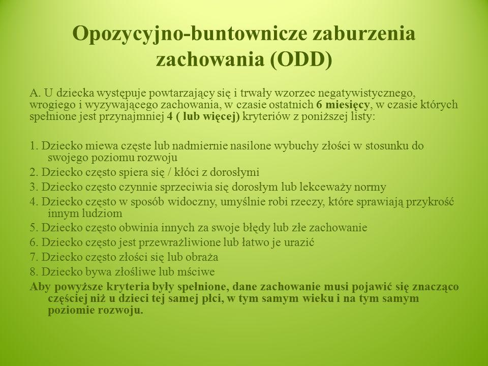 Opozycyjno-buntownicze zaburzenia zachowania (ODD)
