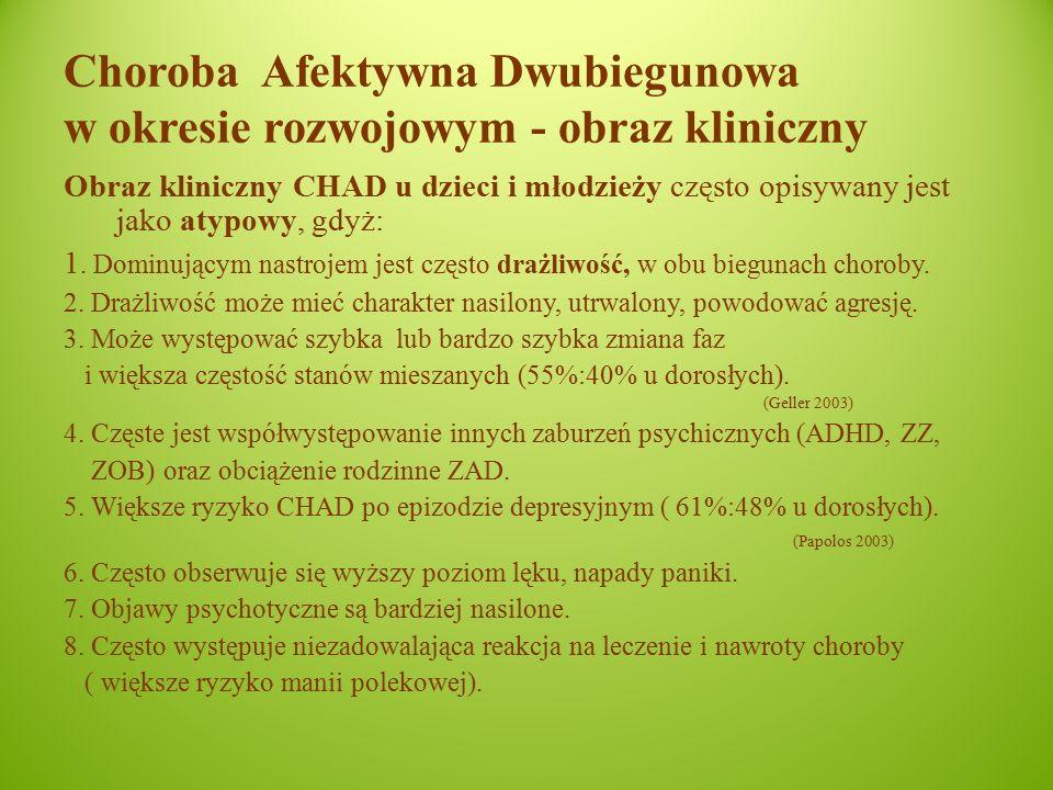 Choroba Afektywna Dwubiegunowa w okresie rozwojowym - obraz kliniczny