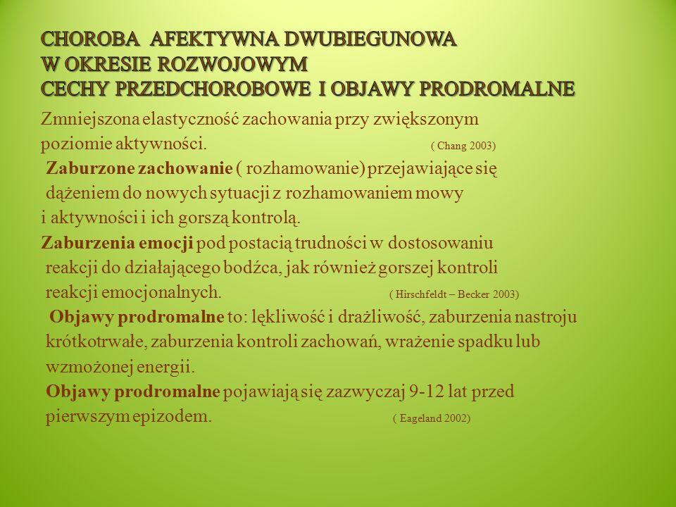 Choroba afektywna Dwubiegunowa w okresie rozwojowym Cechy przedchorobowe i objawy prodromalne