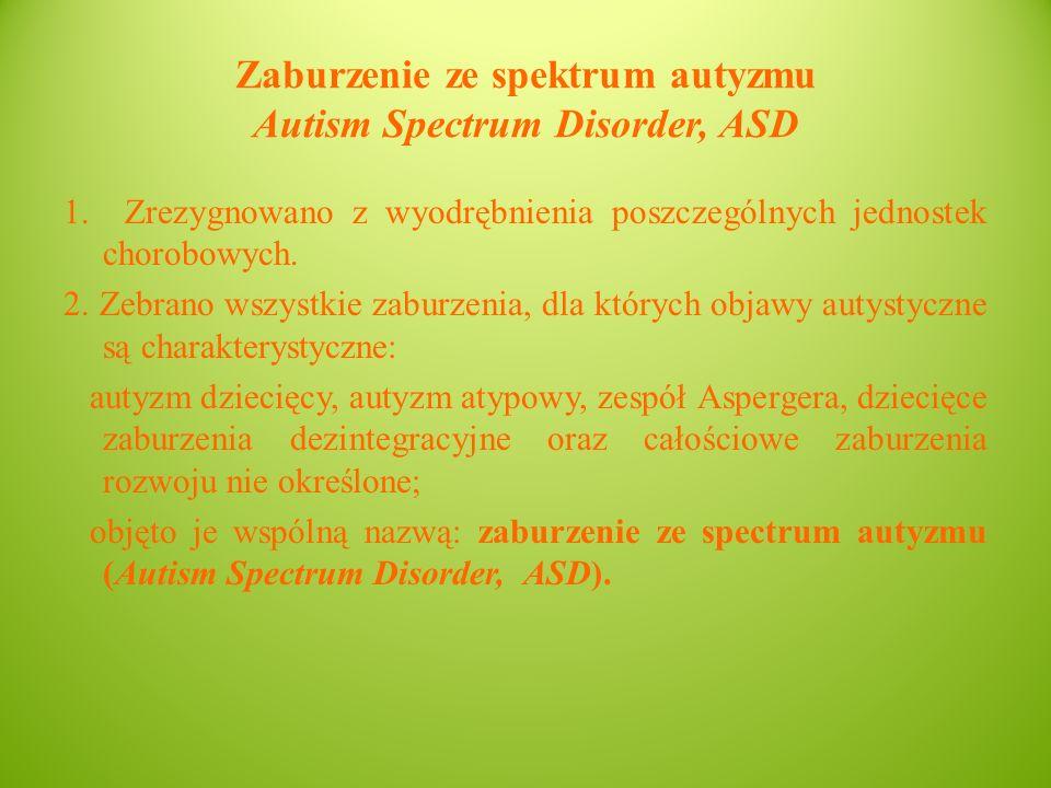 Zaburzenie ze spektrum autyzmu Autism Spectrum Disorder, ASD