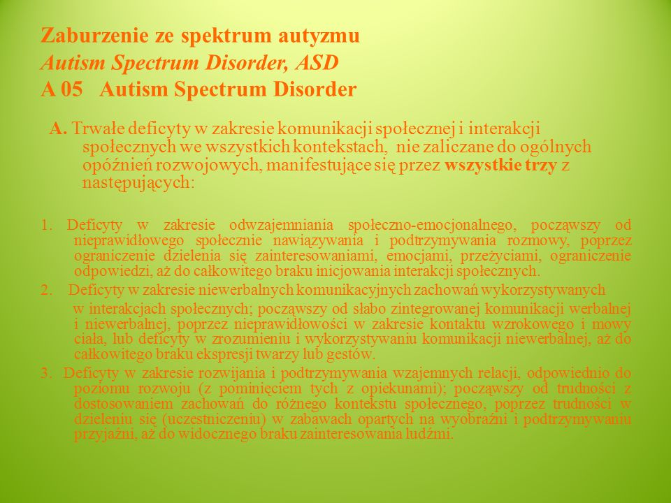 Zaburzenie ze spektrum autyzmu Autism Spectrum Disorder, ASD A 05 Autism Spectrum Disorder