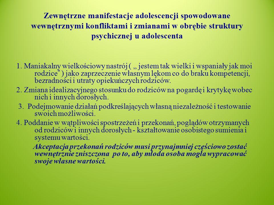 Zewnętrzne manifestacje adolescencji spowodowane wewnętrznymi konfliktami i zmianami w obrębie struktury psychicznej u adolescenta