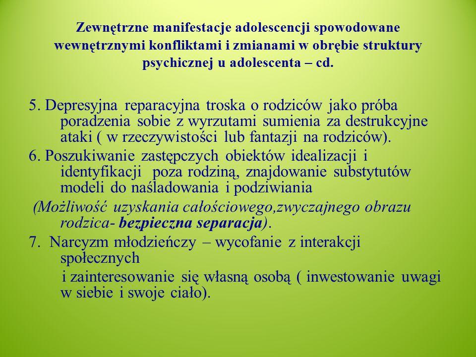 Zewnętrzne manifestacje adolescencji spowodowane wewnętrznymi konfliktami i zmianami w obrębie struktury psychicznej u adolescenta – cd.