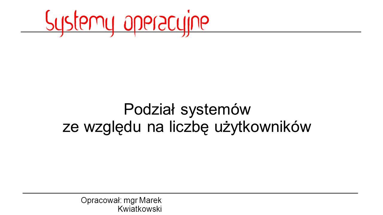 Podział systemów ze względu na liczbę użytkowników