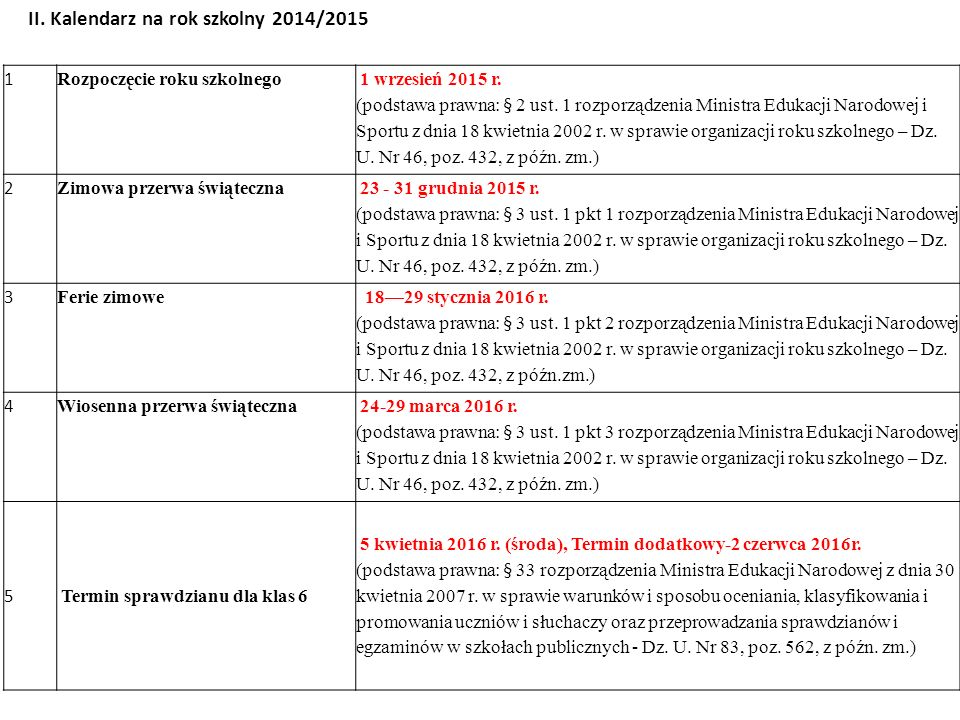 II. Kalendarz na rok szkolny 2014/2015