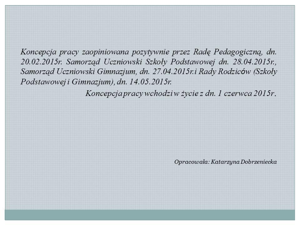 Koncepcja pracy wchodzi w życie z dn. 1 czerwca 2015r.