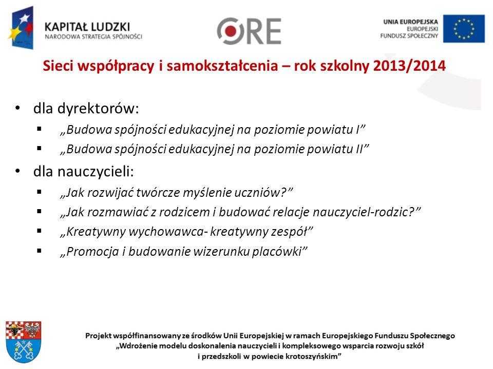 Sieci współpracy i samokształcenia – rok szkolny 2013/2014