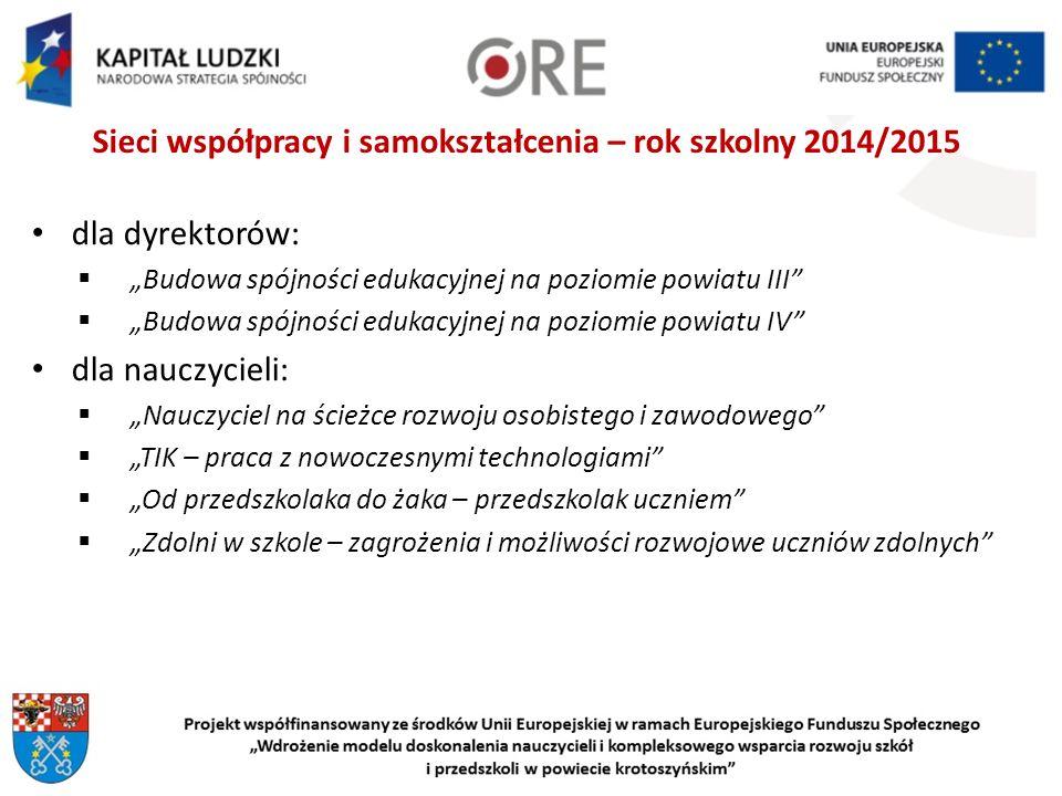 Sieci współpracy i samokształcenia – rok szkolny 2014/2015