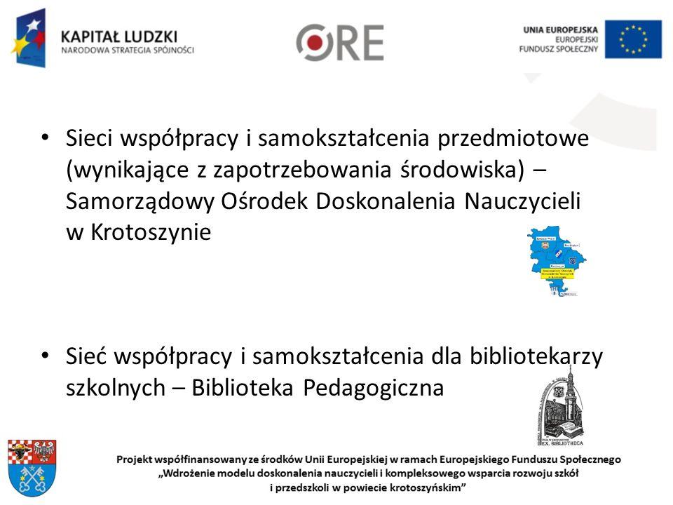 Sieci współpracy i samokształcenia przedmiotowe (wynikające z zapotrzebowania środowiska) – Samorządowy Ośrodek Doskonalenia Nauczycieli w Krotoszynie