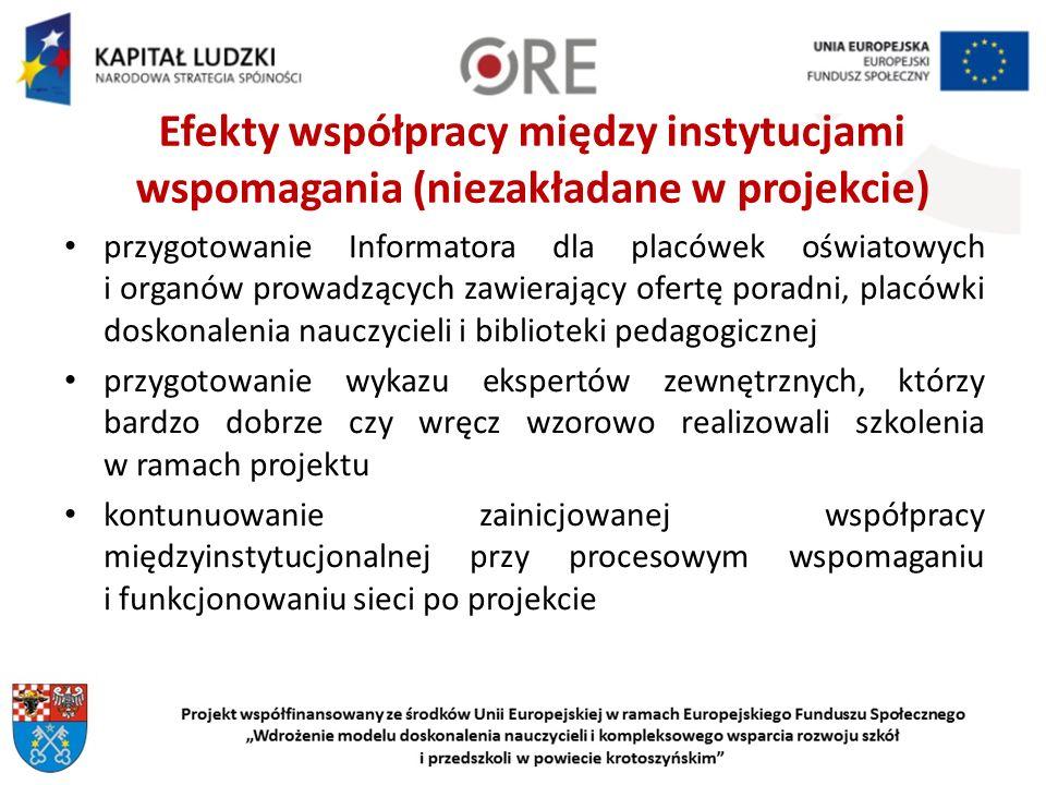 Efekty współpracy między instytucjami wspomagania (niezakładane w projekcie)