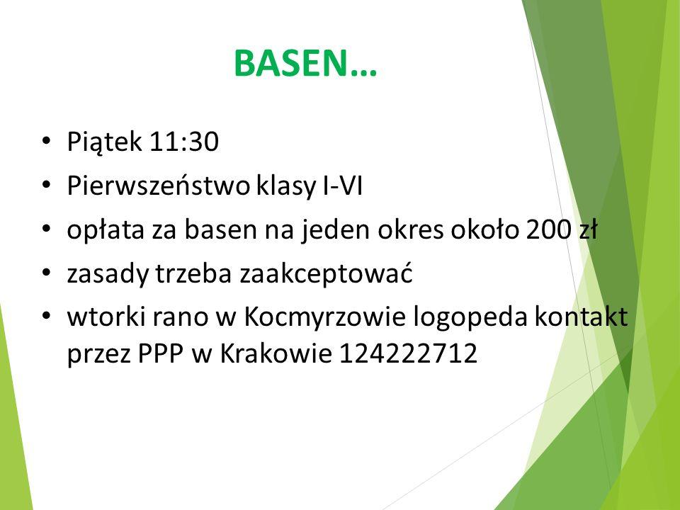 BASEN… Piątek 11:30 Pierwszeństwo klasy I-VI