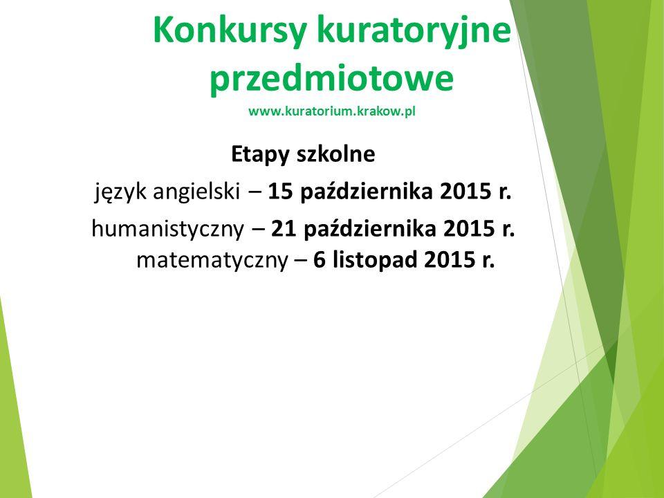Konkursy kuratoryjne przedmiotowe www.kuratorium.krakow.pl