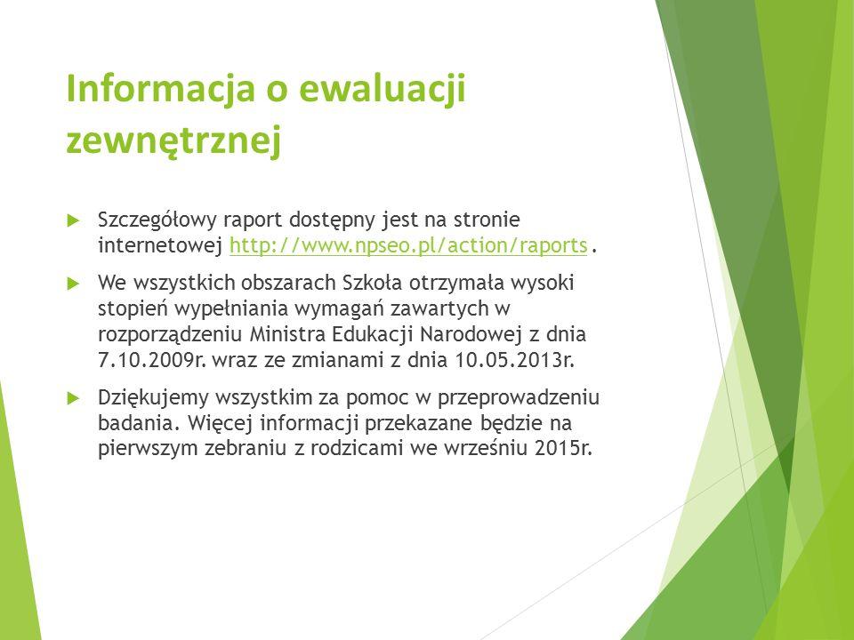 Informacja o ewaluacji zewnętrznej