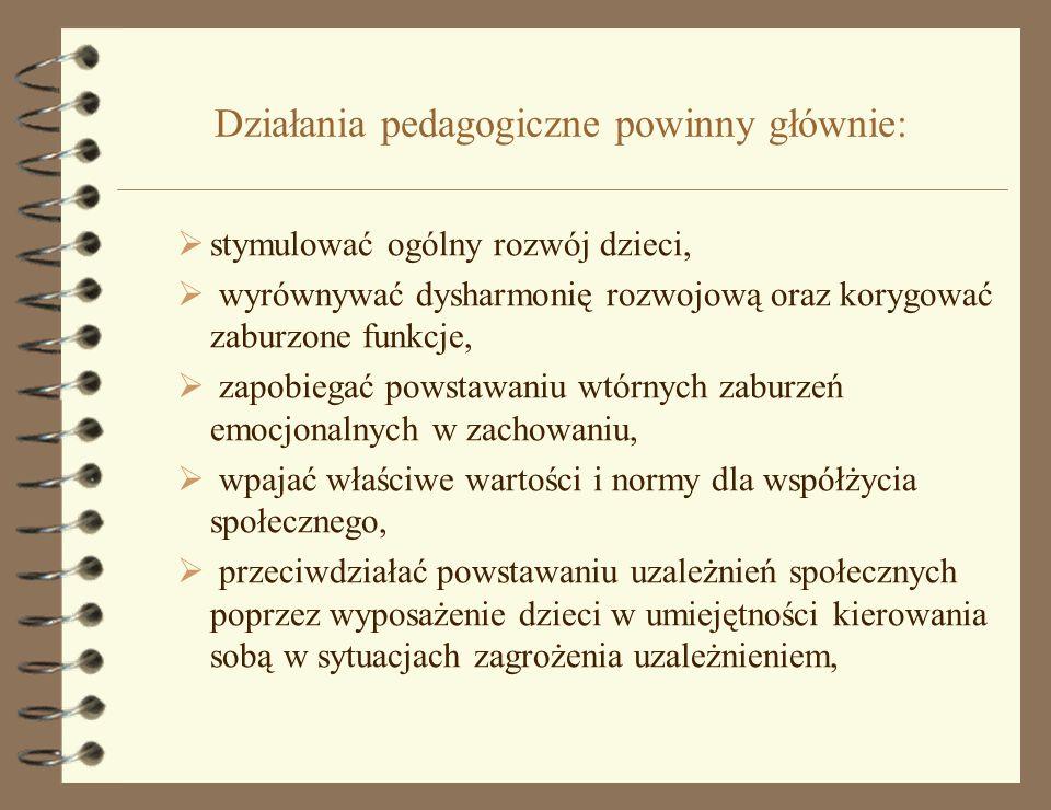 Działania pedagogiczne powinny głównie:
