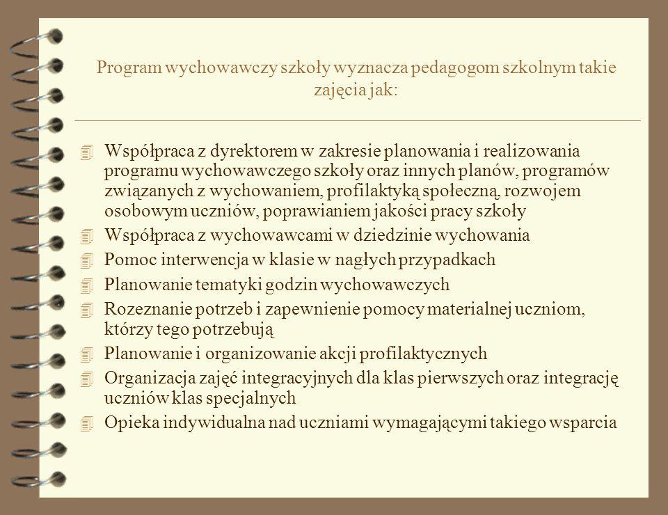 Program wychowawczy szkoły wyznacza pedagogom szkolnym takie zajęcia jak: