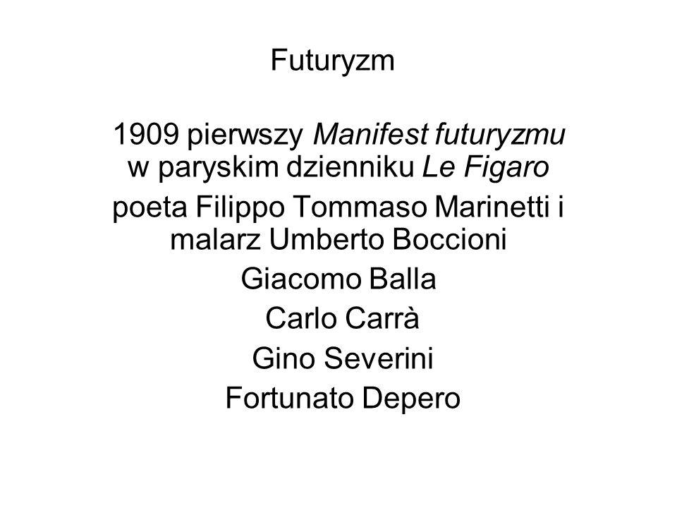 1909 pierwszy Manifest futuryzmu w paryskim dzienniku Le Figaro