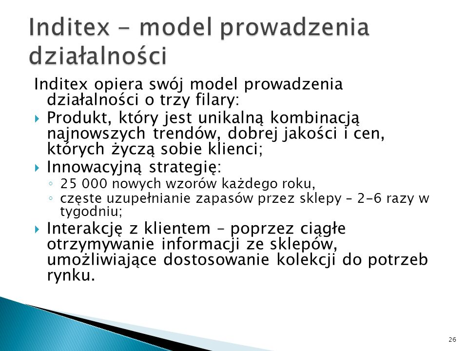 Inditex - model prowadzenia działalności